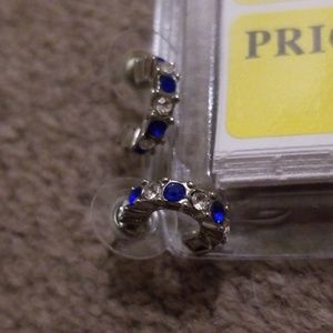 Sapphire and white earrings
